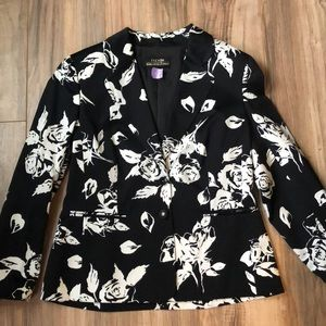 Escada blazer size 42/ L black with white flowers